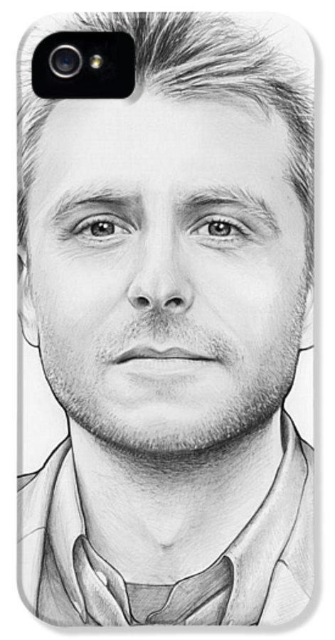 Chris Hardwick IPhone 5 Case featuring the drawing Chris Hardwick by Olga Shvartsur
