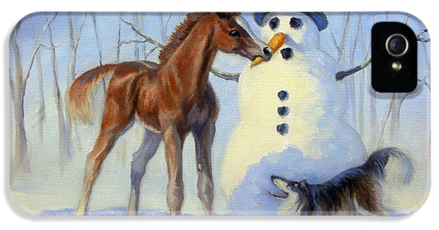 Horse IPhone 5 / 5s Case featuring the painting Christmas Bounty by Jeanne Newton Schoborg