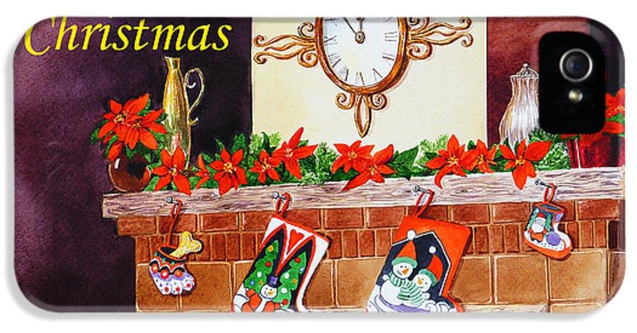 Christmas IPhone 5 Case featuring the painting Christmas Card by Irina Sztukowski