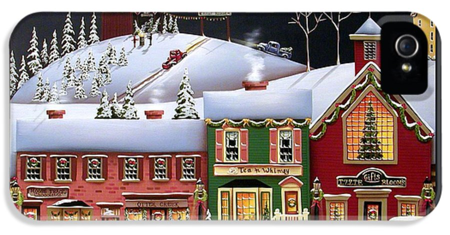 Art IPhone 5 Case featuring the painting Christmas In Holly Ridge by Catherine Holman