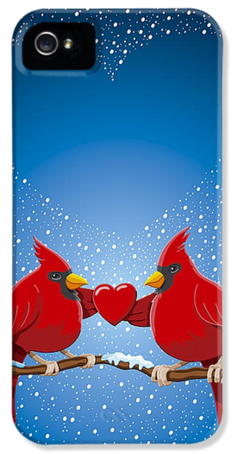 Christmas IPhone 5 / 5s Case featuring the drawing Christmas Red Cardinal Twig Snowing Heart by Frank Ramspott