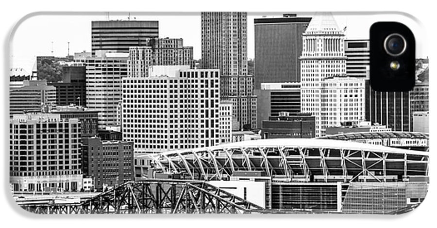 2012 IPhone 5 Case featuring the photograph Cincinnati Skyline Black And White Picture by Paul Velgos