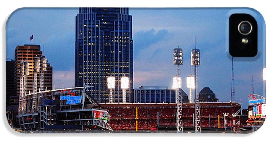 Great American Ball Park Photos IPhone 5 Case featuring the photograph Cincinnati Skyline by Deborah Fay