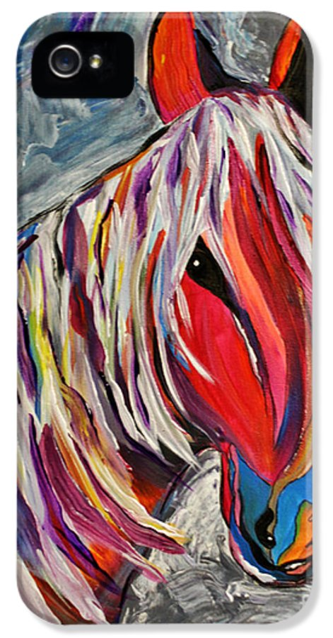 Horse IPhone 5 Case featuring the painting Cisco Abstract Horse by Janice Rae Pariza