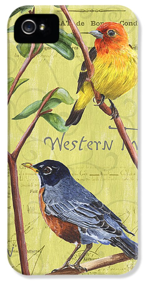 Bird IPhone 5 Case featuring the painting Citron Songbirds 2 by Debbie DeWitt