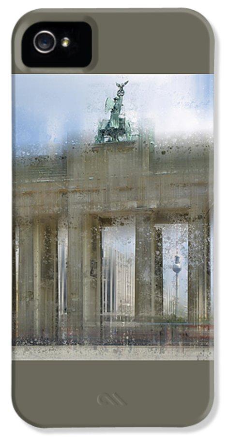 Europe IPhone 5 Case featuring the photograph City-art Berlin Brandenburg Gate by Melanie Viola