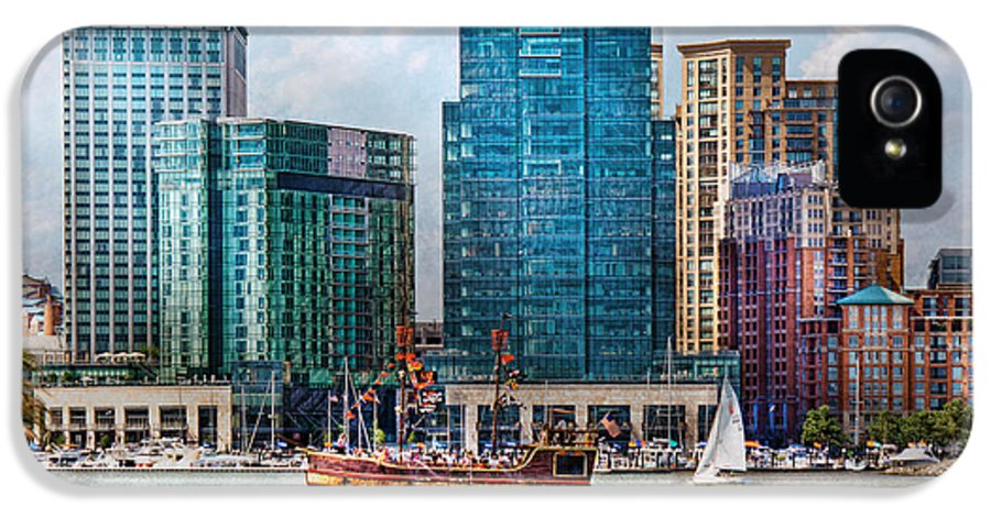 Maryland IPhone 5 Case featuring the photograph City - Baltimore Md - Harbor East by Mike Savad