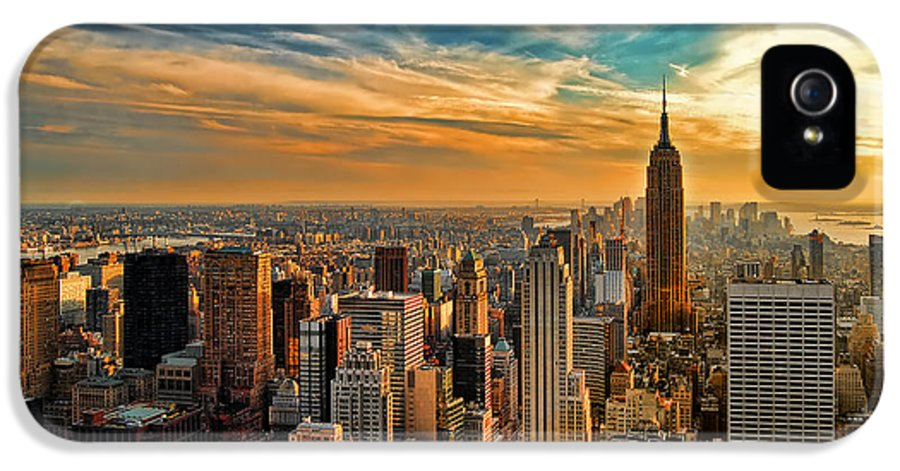New York City IPhone 5 Case featuring the photograph City Sunset New York City Usa by Sabine Jacobs