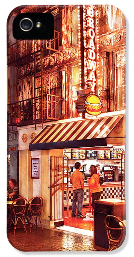 Savad IPhone 5 Case featuring the photograph City - Vegas - Ny - Broadway Burger by Mike Savad