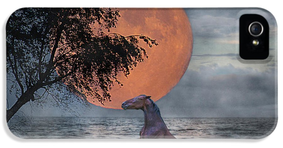 Horse IPhone 5 Case featuring the digital art Claiming The Moon by Betsy Knapp