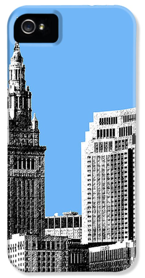 Architecture IPhone 5 Case featuring the digital art Cleveland Skyline 1 - Light Blue by DB Artist