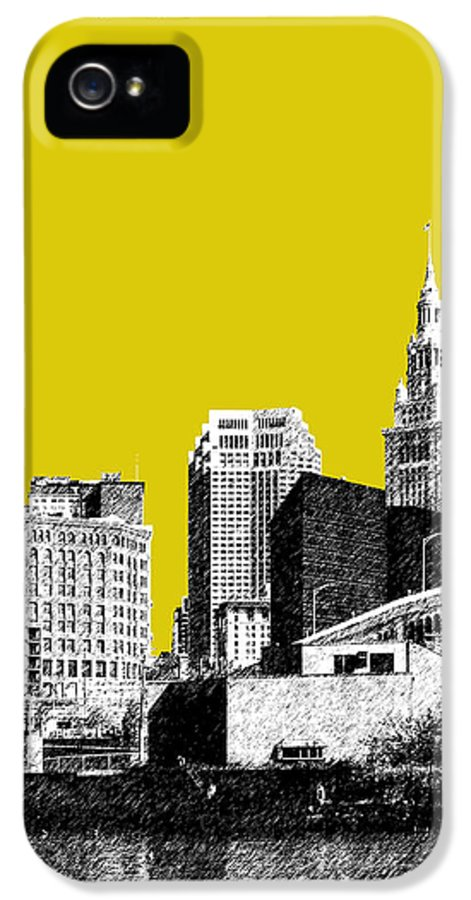 Architecture IPhone 5 Case featuring the digital art Cleveland Skyline 3 - Mustard by DB Artist