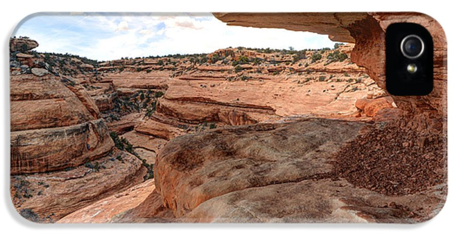 Utah IPhone 5 Case featuring the photograph Cliff Overhang In Southwest Sandstone Canyon - Utah by Gary Whitton