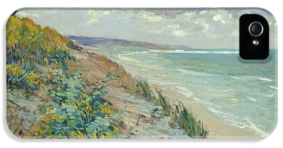 Beach IPhone 5 Case featuring the painting Cliffs By The Sea At Trouville by Gustave Caillebotte