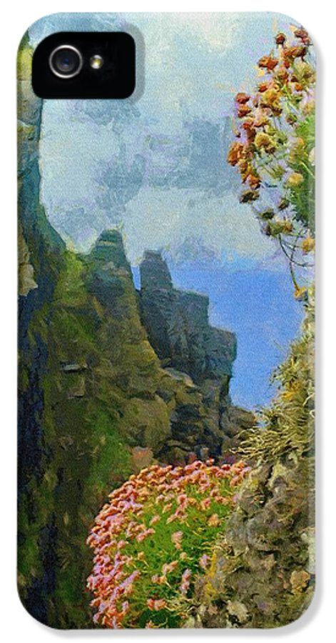 Skellig IPhone 5 Case featuring the painting Cliffside Sea Thrift by Jeff Kolker