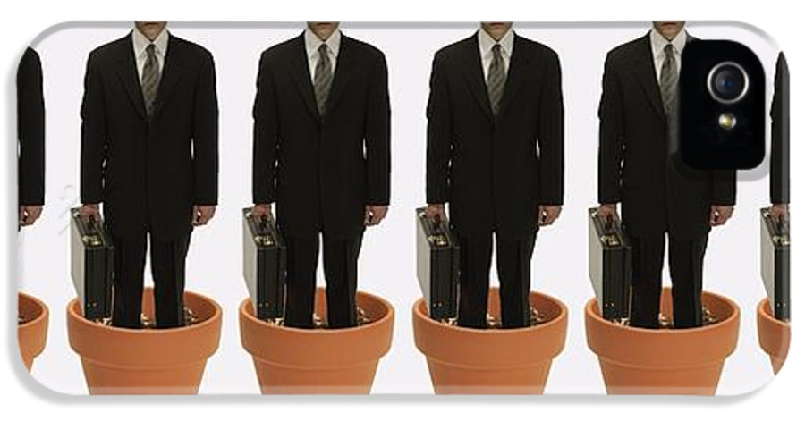 Concept IPhone 5 Case featuring the photograph Clones Of Man In Business Suit Standing by Darren Greenwood