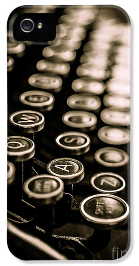 Type IPhone 5 Case featuring the photograph Close Up Vintage Typewriter by Edward Fielding