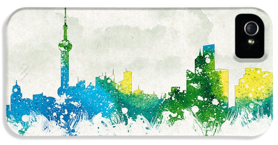 Architecture IPhone 5 Case featuring the digital art Clouds Over Shanghai China by Aged Pixel