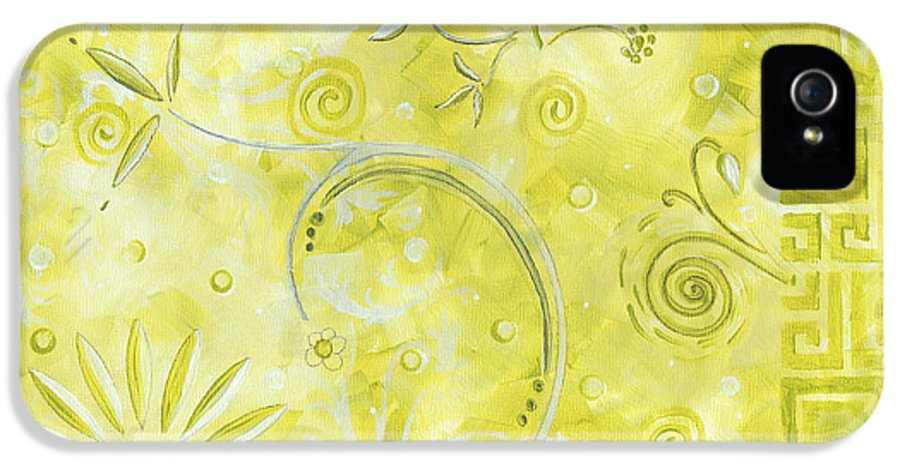 Coastal IPhone 5 Case featuring the painting Coastal Decorative Citron Green Floral Greek Checkers Pattern Art Green Whimsy By Madart by Megan Duncanson