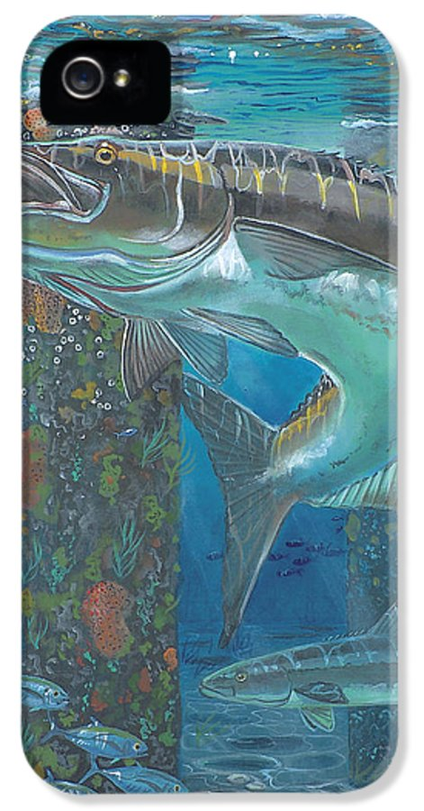 Cobia IPhone 5 Case featuring the painting Cobia Strike In0024 by Carey Chen