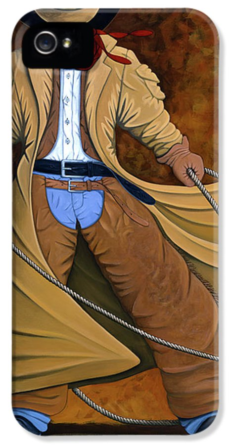 Contemporary Western IPhone 5 Case featuring the painting Cody by Lance Headlee