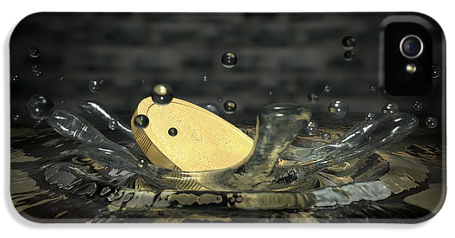 Wishing Well IPhone 5 Case featuring the digital art Coin Hitting Water Splash by Allan Swart