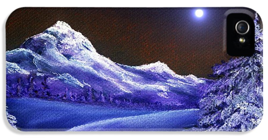 Moon IPhone 5 Case featuring the painting Cold Night by Anastasiya Malakhova