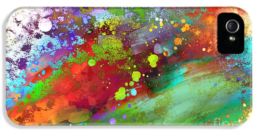 Abstract IPhone 5 Case featuring the painting Color Explosion Abstract Art by Ann Powell