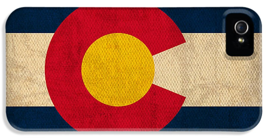 Colorado State Flag Art On Worn Canvas IPhone 5 Case featuring the mixed media Colorado State Flag Art On Worn Canvas by Design Turnpike