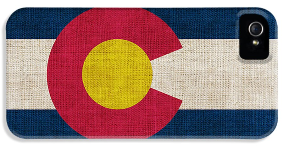 Colorado IPhone 5 Case featuring the painting Colorado State Flag by Pixel Chimp