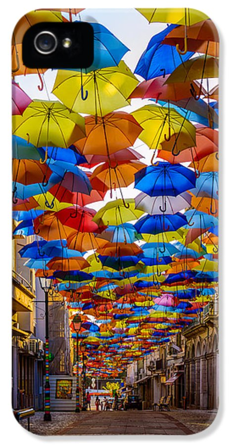 Colorful Floating Umbrellas IPhone 5 Case featuring the photograph Colorful Floating Umbrellas by Marco Oliveira