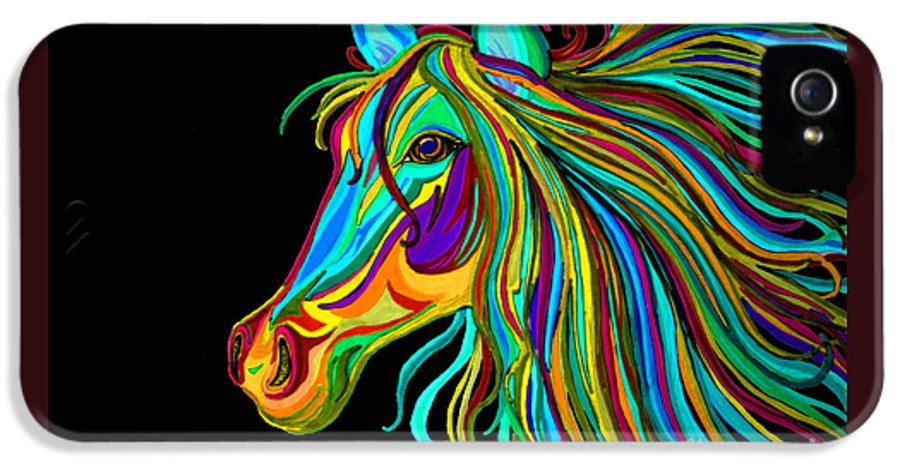 Horse IPhone 5 Case featuring the drawing Colorful Horse Head 2 by Nick Gustafson
