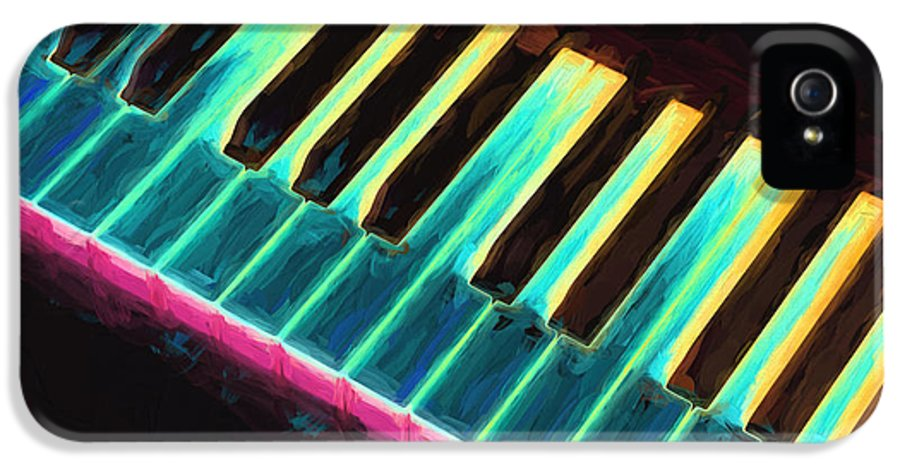 Piano IPhone 5 Case featuring the painting Colorful Keys by Bob Orsillo
