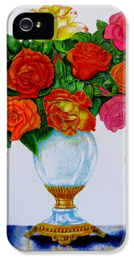 Flowers IPhone 5 Case featuring the drawing Colorful Roses by Zina Stromberg