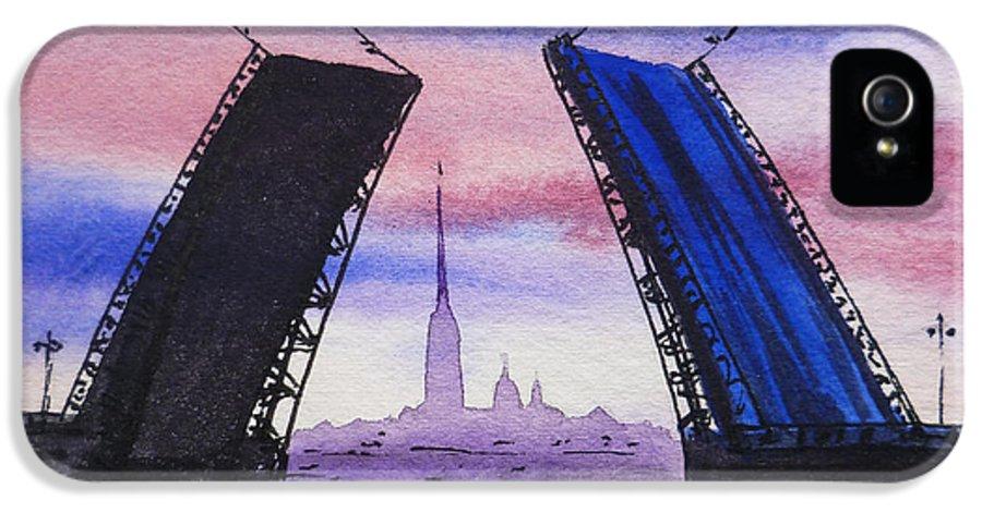 Russia IPhone 5 Case featuring the painting Colors Of Russia Bridges Of Saint Petersburg by Irina Sztukowski
