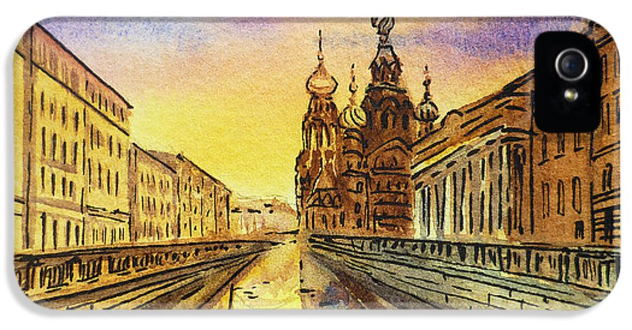 Russia IPhone 5 Case featuring the painting Colors Of Russia St Petersburg Cathedral I by Irina Sztukowski