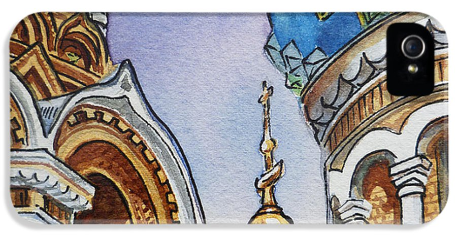 Russia IPhone 5 Case featuring the painting Colors Of Russia St Petersburg Cathedral II by Irina Sztukowski