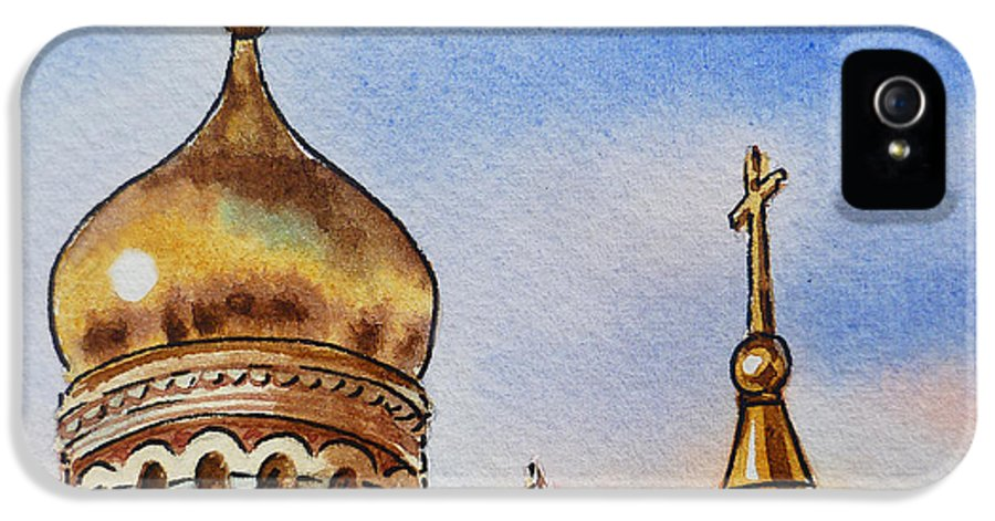 Russia IPhone 5 Case featuring the painting Colors Of Russia St Petersburg Cathedral Iv by Irina Sztukowski