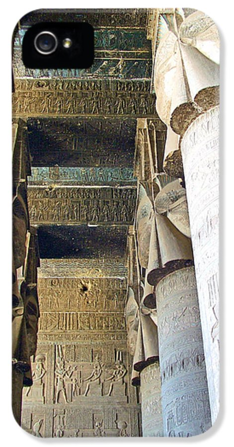 Columns In Temple Of Hathor Near Dendera In Qena IPhone 5 Case featuring the photograph Columns In Temple Of Hathor Near Dendera In Qena-egypt by Ruth Hager