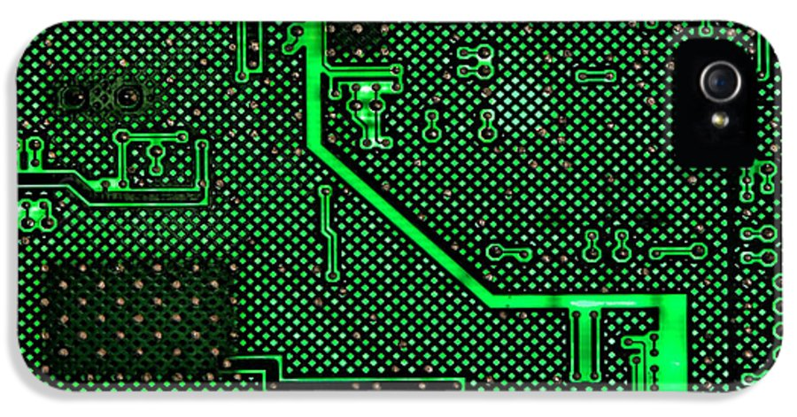 Computer IPhone 5 Case featuring the photograph Computer Circuit Board by Olivier Le Queinec