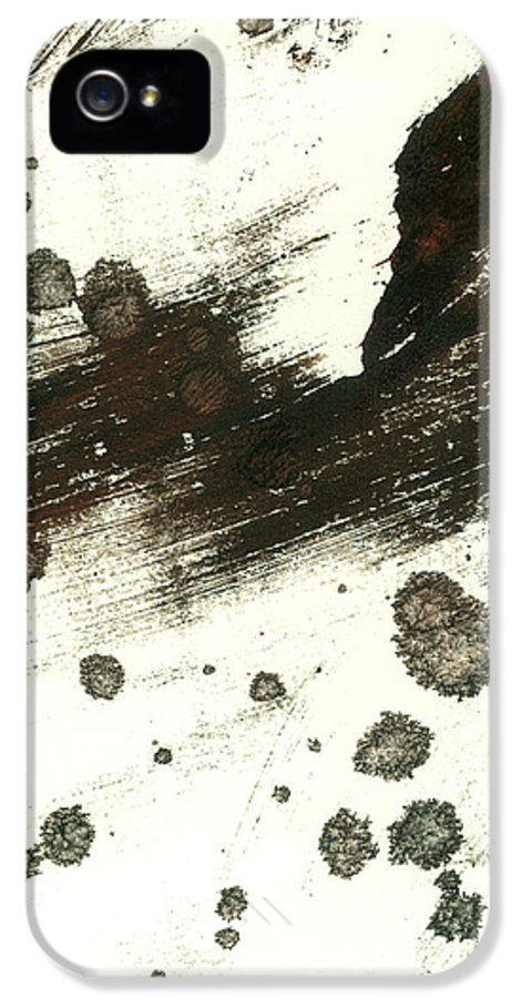 Abstract IPhone 5 Case featuring the painting Contemplation In Black And White Abstract Art by Ann Powell