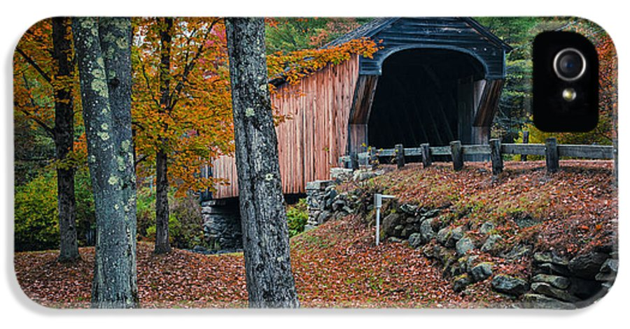 New Hampshire IPhone 5 Case featuring the photograph Corbin Covered Bridge Newport New Hampshire by Edward Fielding