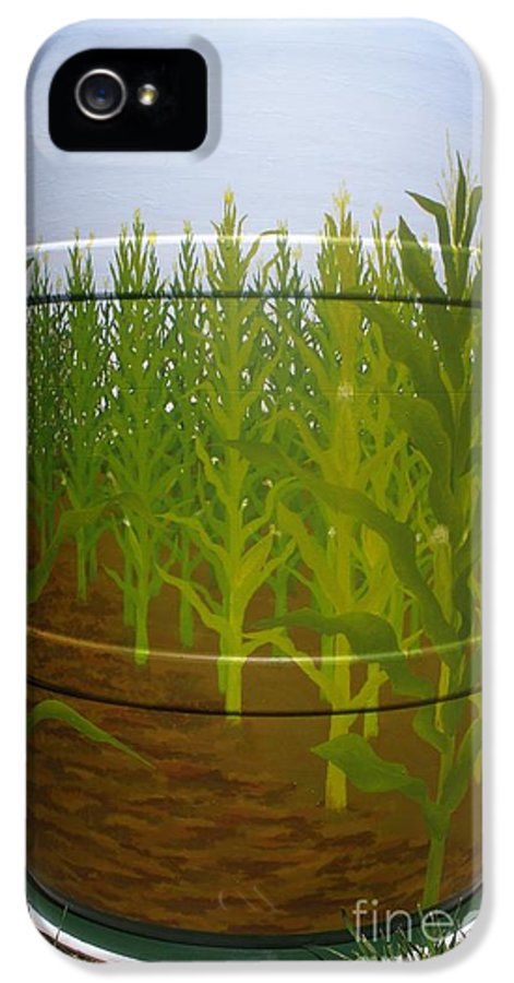 Barrel IPhone 5 Case featuring the painting Corn Field by Katherine Tesch