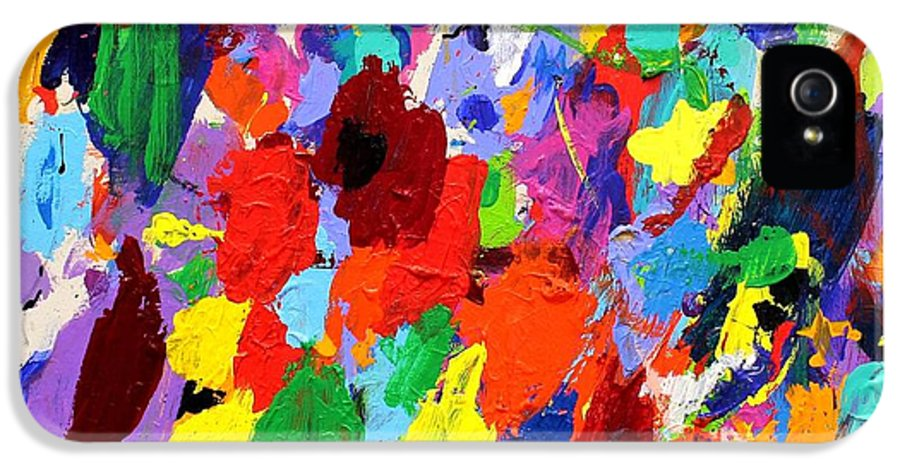 Abstract IPhone 5 Case featuring the painting Cornucopia Of Colour I by John Nolan