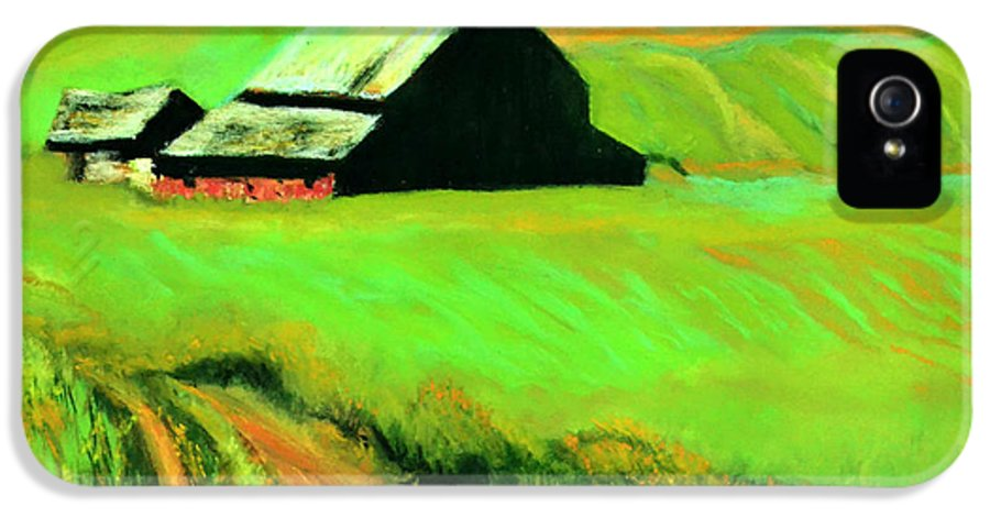Landscape IPhone 5 Case featuring the pastel Country Barn by Charles Krause