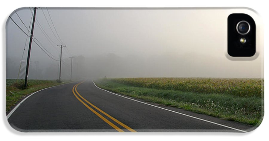 Morning IPhone 5 Case featuring the photograph Country Road In Fog by Olivier Le Queinec