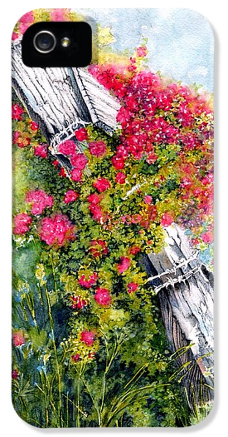 Pink Roses IPhone 5 Case featuring the painting Country Rose by Janine Riley