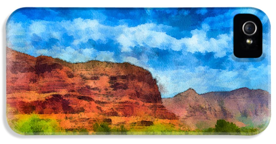 Arid Climate IPhone 5 Case featuring the digital art Courthouse Butte Sedona Arizona by Amy Cicconi