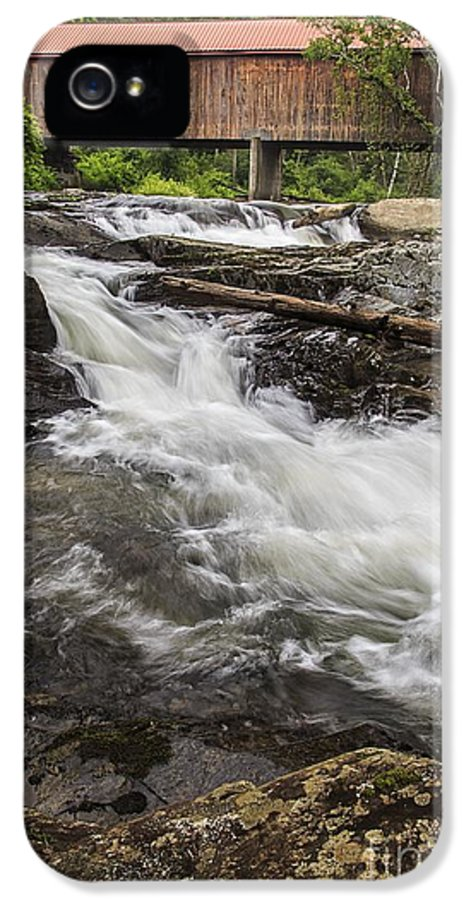 Vermont IPhone 5 Case featuring the photograph Covered Bridge And Waterfall by Edward Fielding