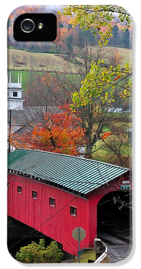 Covered Bridges IPhone 5 Case featuring the photograph Covered Bridge-west Arlington Vermont by Thomas Schoeller